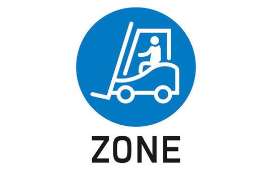 gabelstapler zone betriebssicherheit schild