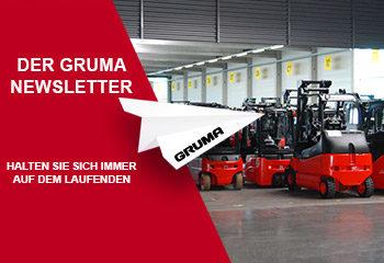 gruma newsletter stapler papier flieger logo halle 1