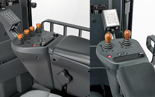 joysticks holz griff im stapler zwei bilder