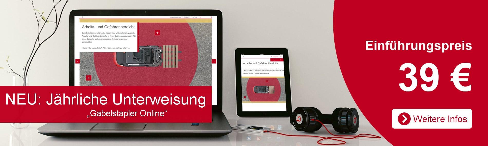 banner jaehrliche unterweisung gabelstapler online mit laptop oder tablet