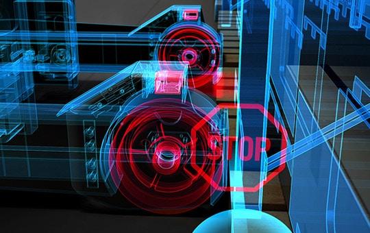 rack protection sensor bremst proportional zu abstand zu regal und zu fahrgeschwindigkeit