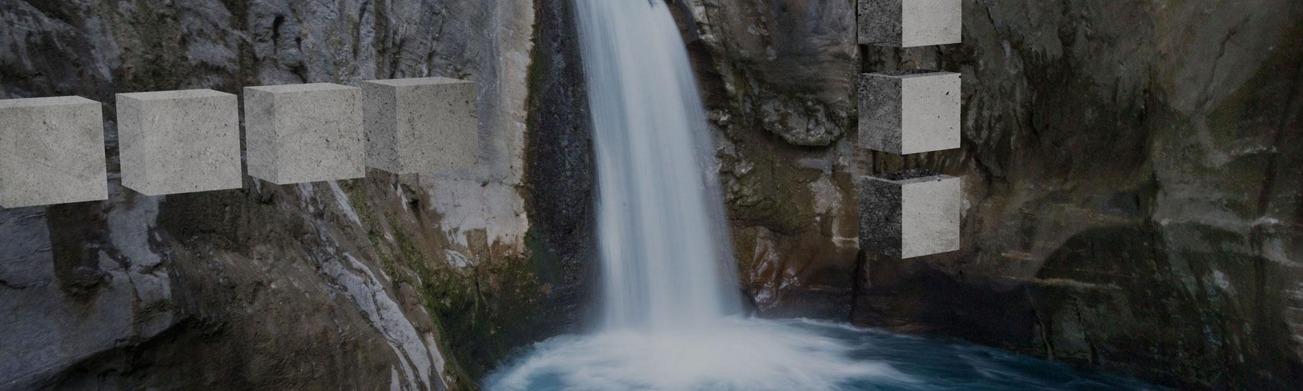 landschaft wasserfall im fels mit schwebenden steinen drumherum