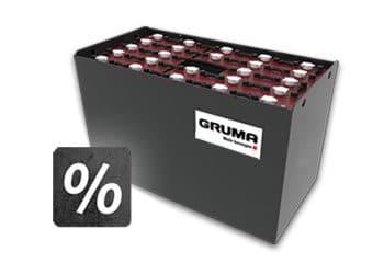 gruma batterie mit prozentzeichen