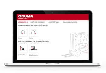 gruma konfigurator auf laptopbildschirm