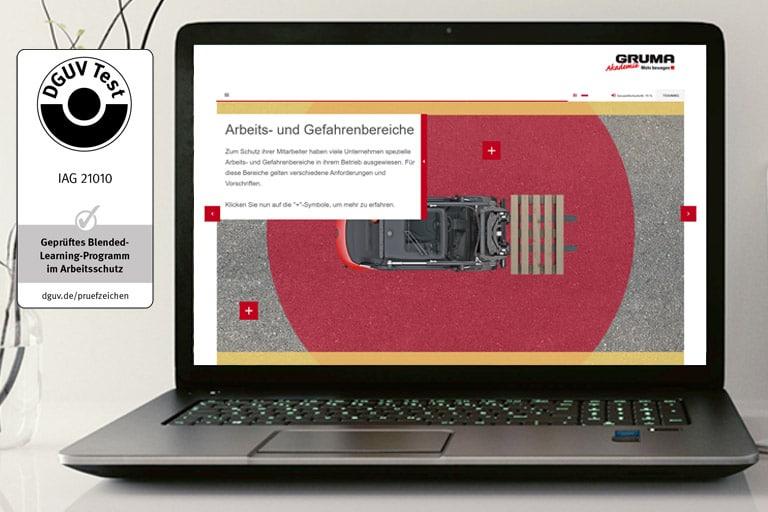 screen von jaehrliche unterweisung gabelstapler online mit zertifikat dguv test 1